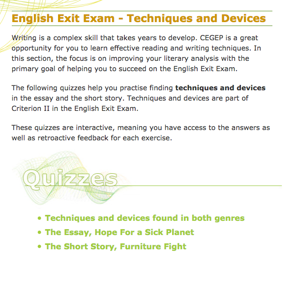 Topics For English Essays Ccdmd Learning Centre Eee  Readings And Exercises  Techniques Devices  Short Story Essay Public Health Essays also Essay Proposal Format Ccdmd Learning Centre Eee  Readings And Exercises  Techniques  Narrative Essay Example High School