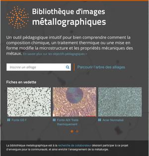 Bibliothèque d'images métallographiques